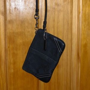 Black mini authentic Coach wristlet